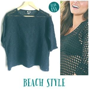 Elan • Black Crochet Netted Beach Cover Top OS